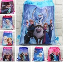 Wholesale Wholesale Princess Bags - 30pcs lot new style children's Non-woven backpack froze n princess Elsa Anna School bag Party Favors 15 design CC09
