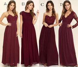 Wholesale Mix Bridesmaid Custom - 2017 Beach Bridesmaid Dresses Mixed Style A Line Floor Length Burgundy Bridesmaid Gowns With Applique Chiffon Backless Formal Dresses