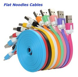 Wholesale Noodle Usb Cable 4s - 1M 2M 3M Micro V8 Noodle Flat Data USB Charging Cords Charger Cable Line For i5 5C 6 6S Plus 4S Samsung Phone Android Phone MOQ:100pcs