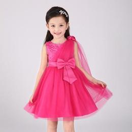 Wholesale Elegant Gowns For Girls - 2016 hot summer Princess Red White Flower Girls Dresses For Wedding kids child and pary new style Elegant Sleeveless Ball Gown