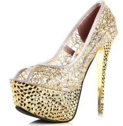 Wholesale White Prom Shoes Beading - Fashion Glitter Beads Prom Pumps Femme Sexy Platform Wedding Peep Toes Black Golden Nightclub High Heels Shoes For Women
