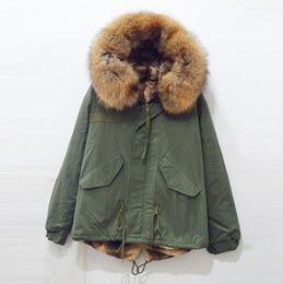 Wholesale Color Suppliers - free shipping raccoon brown real fur big collar Mrs Mr fur parka,factory supplier wholesale price