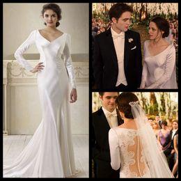 Wholesale Bella White - Vintage Deep V-Neck Illusion Lace Back Long Sleeves Floor-Length Mermaid Wedding Dresses Vestidos de novia bella swan