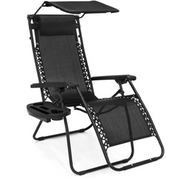 Wholesale Folding Lounge - Folding Zero Gravity Recliner Lounge Chair w  Shade & Cup Holder (Black)