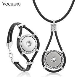 Wholesale Silver Pendant Bracelets - NOOSA Silver Plated Button Pendant Necklace and Bracelet Interchangeable 18mm Snap Jewelry Set (NN-302)
