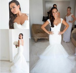 Wholesale Sexy Bare Back Wedding Dresses - 2014 Steven Khalil White Fluffy Tulle Bare Back Mermaid Wedding Dress Beach Bridal Gown Sweetheart Appliques Pleated Sweep-Train Custom Made
