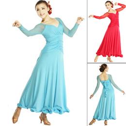 Wholesale Ballroom Skirt Long - 2015 New Ballroom Dance Competition Dresses Long-Sleeved Modern Dance Dress V-Neck Mermaid Costume Skirt Fishbone Dance Flamenco DQ5036