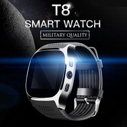 Wholesale Gps Locate - T8 Bluetooth Smart Watch Support SIM TF Card FM Radio GPS 0.3MP Camera Smartwatch Sports Wristwatch Outdoor Man Watch LBS Locating Bracelet