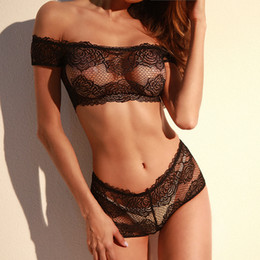 Wholesale One Piece Full Size Underwear - Hot Sale Black Bra Sets Lace Sheer Short Sleeve Camis+Shorts Two Piece Sets Hollow Out Embroidery Piping Underwear Chic Femme Lingerie