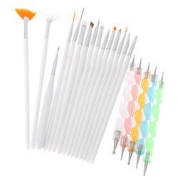Wholesale brush bundle - Professional 20Pcs Nail Brush Nail Art Design Painting Dotting Detailing Pen Brushes Bundle Tool Kit Set