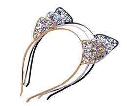 Wholesale headband cute - Kids Girls Cute Metal Rhinestone Cat Ear Headband Hair Accessories Headwear