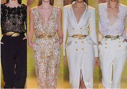 2019 cinture metalliche in argento per abiti Hot Fashion regolabile Zuhair Murad in metallo abbinato oro / argento foglie Cinture di alta qualità a buon mercato per abiti da sposa Cinture da sposa cinture metalliche in argento per abiti economici