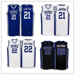 Wholesale Cheap Jay S - Cheap #22 Jay Williams #21 Trajan Langdon Duke Blue Devils Basketball Jersey blue white Embroidery Stitched Personalized