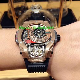 Wholesale Mps Watches - Luxury Brand Basel MP-09 Rose Gold Sport Tourbillon Swiss Automatic Big Men's Watch Skeleton Dial Black Rubber Strap Mans Wristwatches