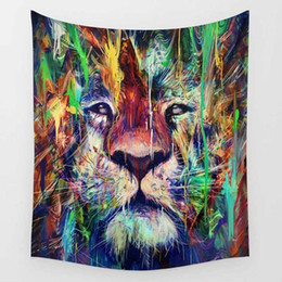 Wholesale Fantasy Home Decor - Bohemia lion Fantasy creatures Printed Mandala Tapestry India Decorative Wall Hanging Tapestries Hanging Towel For Home Decor 150X130cm
