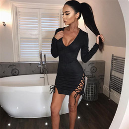 Wholesale black leather long sleeve dress - Vestidos Women Party Dresses Synthetic Leather Suede Long Sleeve lace up Sexy Club Winter Dress Bodycon Bandage Dress