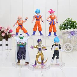 Wholesale Dragon Ball Z Frieza - Dragon Ball Z Super Saiyan Frieza Kulilin Vegeta Son Goku Piccolo PVC Action Figures Toys 10CM 6pcs Set