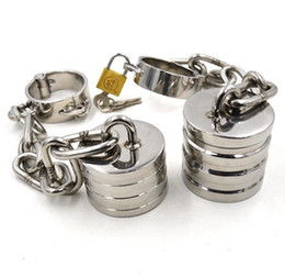 Wholesale scrotum stretching devices - Male Chastity Cock Rings Stainless Steel Scrotum Stretching Ball Stretcher BDSM Bondage Devices Ball Weights Adult Sex Toys For Men