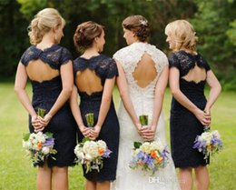 Wholesale Cheap Wedding Dresses Keyhole - 2015 Cheap Short Lace Bridesmaid Dresses in Real Wedding Cap Sleeves Keyhole Back Navy Blue Knee-Length Bridesmaid Gowns Plus Size