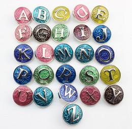 Wholesale Alphabet Fit Bracelet - 26pcs lot snap button jewelry metal snap button fits snap button bracelet initial A-Z alphabet color the letter snap button jewelry 18mm FF