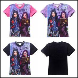 Wholesale Girls Terry Shorts - Prettybaby big kids descendants printing short sleeve T shirt girls pure cotton terry shirts clothing Pt0059#