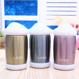 Wholesale Heart Change Color - Magic Touch Sensing Heart Love Cup Cloud Cap Drink Bottles With LED Temperature Display Changing Color Vacuum Bottle CCA8214 100pcs