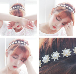 Wholesale Handmade Beaded Headbands - Handmade Pearls Bridal Hair Clasp Crystal Beaded Wedding Headbands For Bride Flower Rhinestone Bridal Headpiece Hair Band