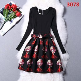 Wholesale Sexy Girls Mini Clothes - 2015 new Winter Fashion Christmas Dress Vintage Design Westernism Print Sexy Tight Side Dresses Women Clothing Casual Dresses girl 6053