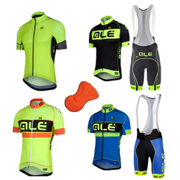 Wholesale Ciclismo Bib - Wholesale-2015 ALE cycling jersey bike set ropa ciclismo short sleeve + bib shorts MTB bike jersey maillots fitness clothes fluo color