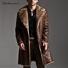 Wholesale Leather Trench Overcoat - Wholesale- Mens Black Leather Jacket Faux Fur Coat Long Laather Trench Overcoat Men Vintage Thick Reversible Pocket Overcoat Plus Size 7XL