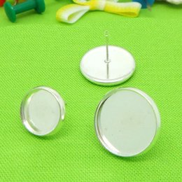 Wholesale Earring Lever Back Set - Wholesale 12MM glass cabochons Silver Plated French Lever Back Earrings Blanks earring bezels base setting for DIY earring post