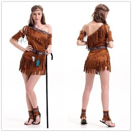 Wholesale Dress Fringes - Cosplay International Sexy Costumes For Women Native American Pow Wow Adult Costume One Shoulder Fringe Dress Outfit H39295