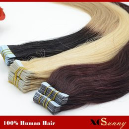 """Wholesale Taped Skin Weft Hair Extensions - XCSUNNY 18""""20"""" Brazilian Virgin Tape Human Hair Extension 100g PU Skin Weft Hair Extensions Straight Tape In Hair Extensions"""