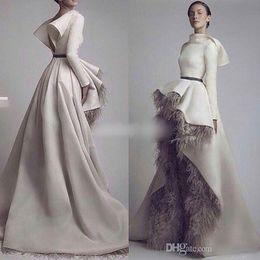 Wholesale Custom Fonts - Krikor Jabotian Long Sleeves Evening Dresses 2016 Short Font Long Back Grey Feather Satin Open Back Formal Dresses Prom Gowns