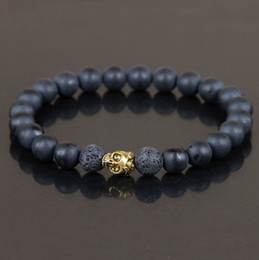 Wholesale Golden Beads Charms - Wholesale-1Pc Mens Matte Black Agate Beads Bracelet,Golden Skull Bracelet Jewelry,Black Lava Rock Beads Bracelet,Stretch Bracelet