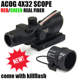 Wholesale 4x32 Rifle Scope - Tactical Trijicon ACOG 4x32 Fiber Optics Scope w  Real Red Green Fiber Crosshair Riflescopes come with Kill Flash