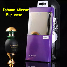 Wholesale Gold Edge Chrome - 2015 For iphone 6 6 plus Galaxy S6 S6 edge Note 4 Mirror Chrome Clear View PC Wallet Flip Case Cover For Samsung Plus with retail box