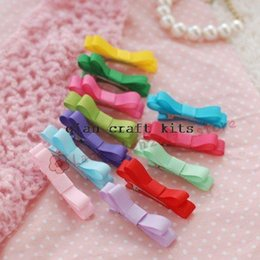 Wholesale Ribbon Covered Alligator Clips - 50pcs ribbon covered alligator clip bow - small hair bow with alligator clip - small bow noneslip bow neon rainbow mix colors