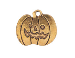 Wholesale Pumpkin Food - 20 PCS Fashion Antiqued Gold Halloween Pumpkin Charm Pendants #92281
