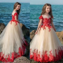 Wholesale Unique Flowered Prom Dresses - Baby Champagne Flower Girl Dress With Red Applique Unique Toddler Pageant Dress Girls Ball Gown Christmas Dresses Kids Birthday Prom Gowns