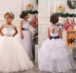 Wholesale Wedding Dress Layered Tulle - 2018 New Elegant Lace Flower Girl Dresses Tulle Ball Gown Layered Lace Applique Beaded Bow Sash Girl Pageant Dresses BO8326