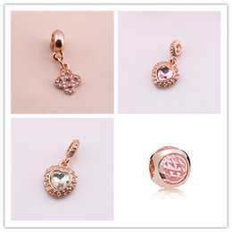 Wholesale Diamond Bow Bracelets - NEW 18K Rose gold love lock bow with diamonds pendant beads DIY jewelry silver beads for bracelet necklace accessories Jewelry