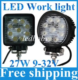 "Wholesale Led Driving Lights 4wd - 2pcs 12V 24V 4"" 4inch 27W Spotlight Floodlight car Tractor Truck SUV boat 4X4 4WD Jeep Offroad driving LED work light bulbs bar"