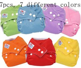 Wholesale Reusable Diaper Nappies Babyland - LOT 7 nappies Adjustable Babyland Reusable cloth diaper nappy 100% microfiber 7COLORS one-size wholesale price free shipping