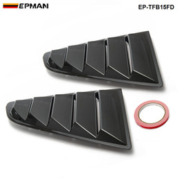 Wholesale Mustang Covers - EPMAN -2PCS SET Sand Sprayed Or Specular or Carbon Fiber Side Window Quarter Scoop Louver Cover For Ford Mustang 2015-17 GT EP-TFB15FD