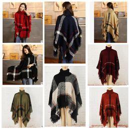 Wholesale Batwing Cape Poncho Cloak - Women Cashmere Scarf Patchwork Plaid Poncho Cape Cloak Wrap Shawl Blanket Poncho Scarves Tartan Winter Cape Grid Shawl KKA3273