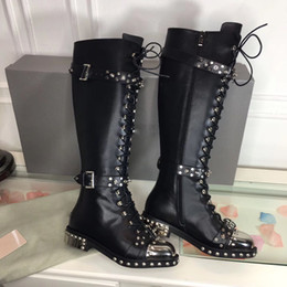 Wholesale Black Stud Ankle Boots - Punk Style Cow Leather Rivets Stud Ladies Motorcycle Boots Flat heel Metal toe Long Boots Women