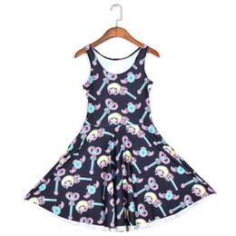 Wholesale Sleeveless Skater Dress - 2018 NEW 1145 Summer Sexy Girl Skater Vest Dress Fashion Sailor Moon magic stick Prints Women Beach Pleated Dress Plus Size
