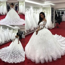 Wholesale Open Back Wedding Dresses Empire - Elegant Lace Wedding Dresses With Sheer Neckline Illusion Long Sleeves Wedding Gowns Appliques Count Train Open Back Sexy Bridal Dress