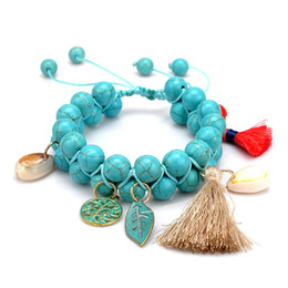 Wholesale Double Bead Bangles - 2017 new natural turquoise bracelets for girls statement jewelry Fashion Wholesale shell Double braiding beads Bracelet bangles for women